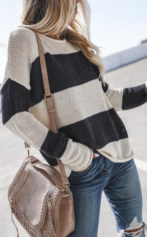 Black White Stripe Knit Sweater