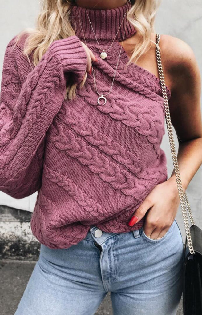 Fuchsia One Sleeve Cable Knit Sweater
