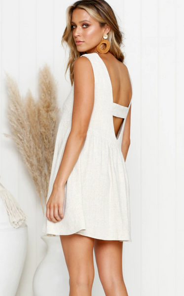 White Backless Linen Shift Dress