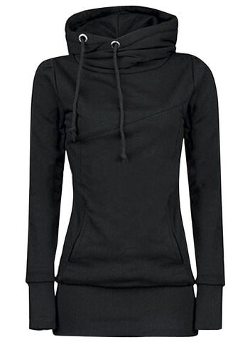 Black Drawstring High Neck Sweatshirt