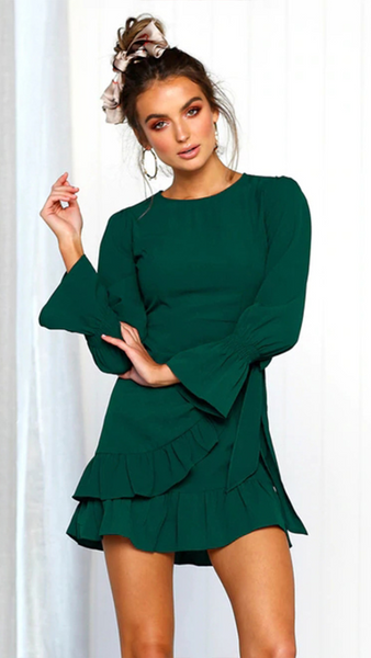Green Long Sleeve Waist Tie Dress