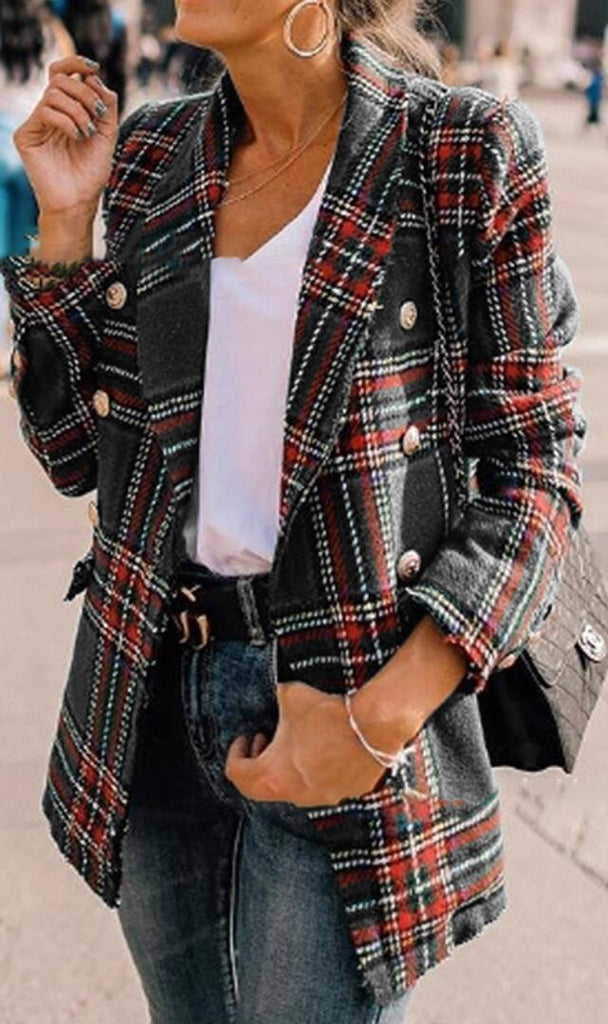 Gray Tartan Plaid Wool Coat