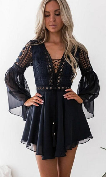 Black Lace Up Chiffon Dress