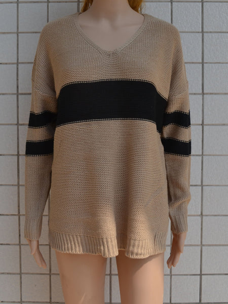 Khaki V-neck Contrast Detail Long Sleeve Knit Sweater