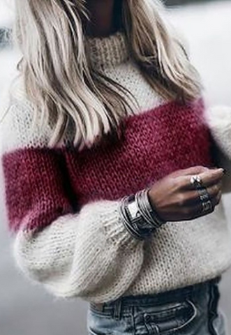 Burgundy Bold Stripe Mohair Sweater