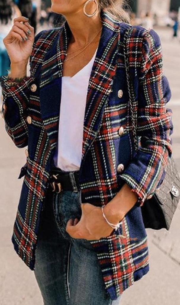 Navy Blue Tartan Plaid Wool Coat