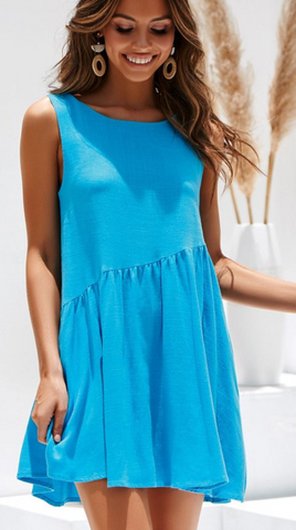Blue Backless Linen Shift Dress