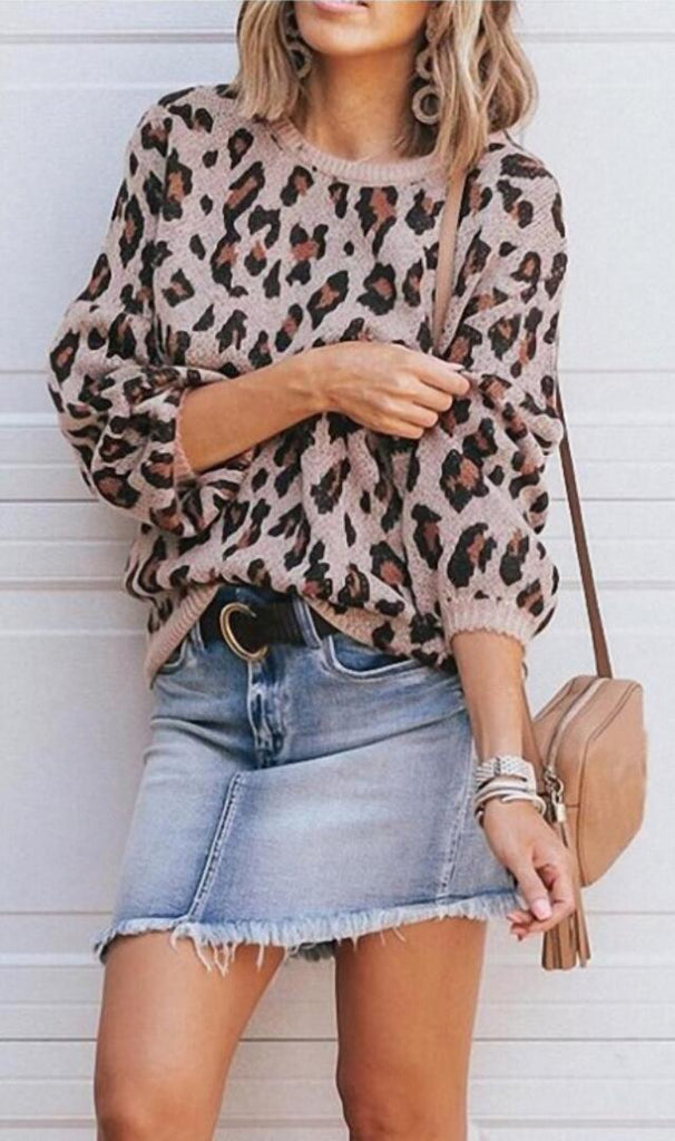 Khaki Leopard Print Loose Knit Sweater
