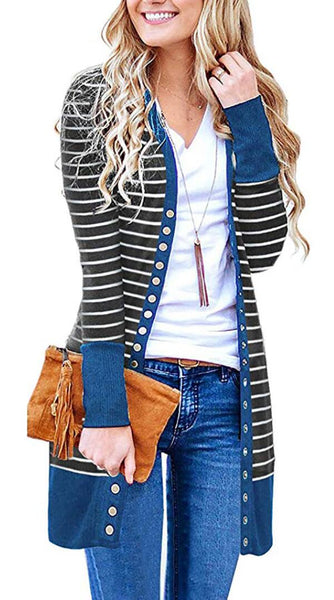 Blue Basic Striped Long Cardigan