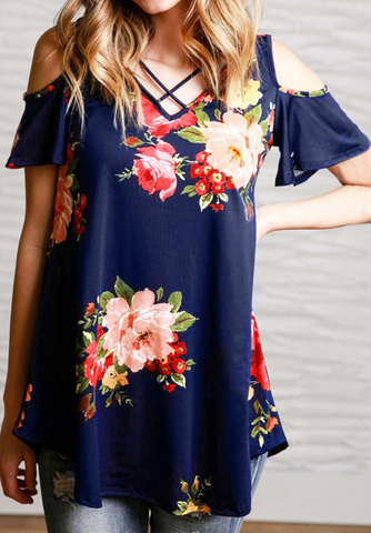Navy Floral Cutout Short Sleeve Tee
