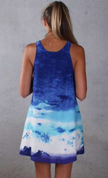 Blue Ocean Wave Shift Dress