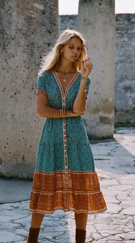 Boho Turquoise Floral Button Down Dress