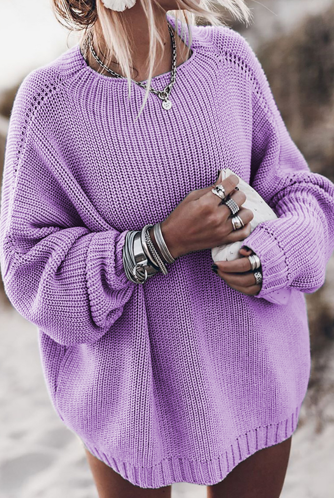 Purple Batwing Loose Fit Long Sweater