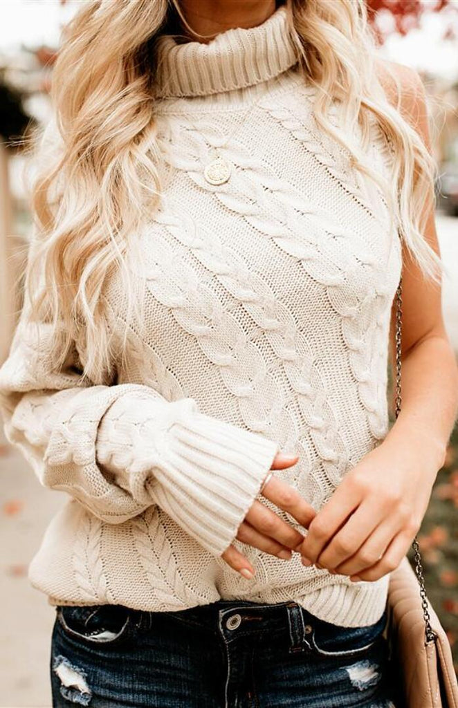 Beige One Sleeve Cable Knit Sweater