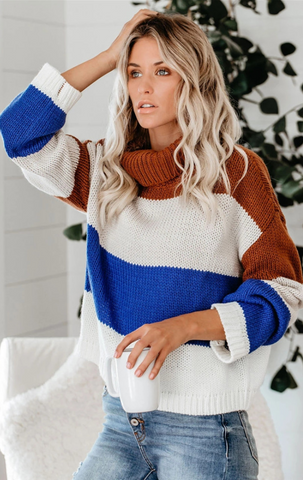 Royal Blue Colorblock Turtleneck Sweater