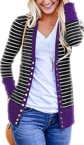 Purple Basic Striped Button Down Cardigan