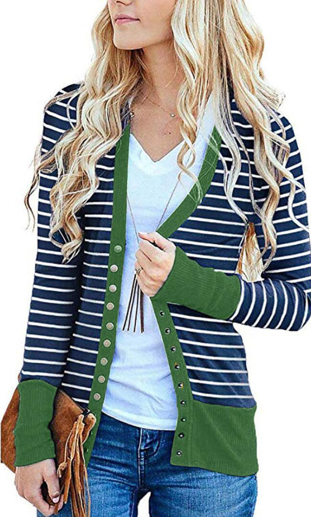 Green Basic Striped Button Down Cardigan