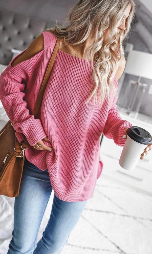 Hot Pink Cold Shoulder Oversized Sweater