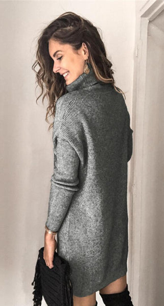 Gray Ribbed Knit Turtleneck Sweater Dress