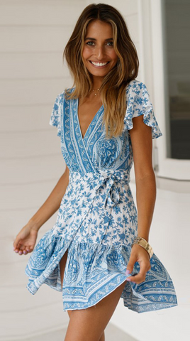 Blue Porcelain Floral Waist-Tie Surplice Dress