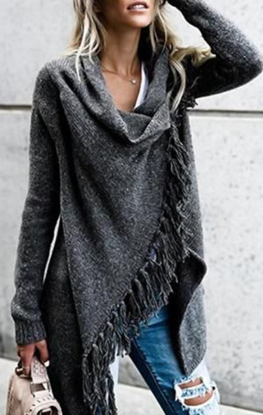 Grey Speckled Fringe Soft Tassel Cardigan