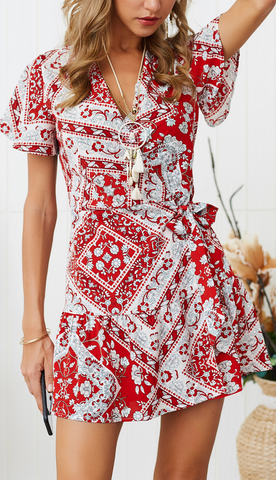 Red Geo Floral Waist-Tie Surplice Mini Dress