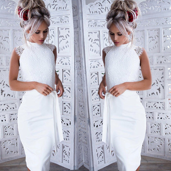 White Lace Bow-Tie Bodycon Dress