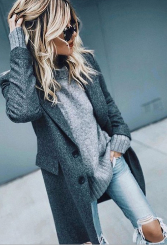 Gray Notched Lapel Wool Coat