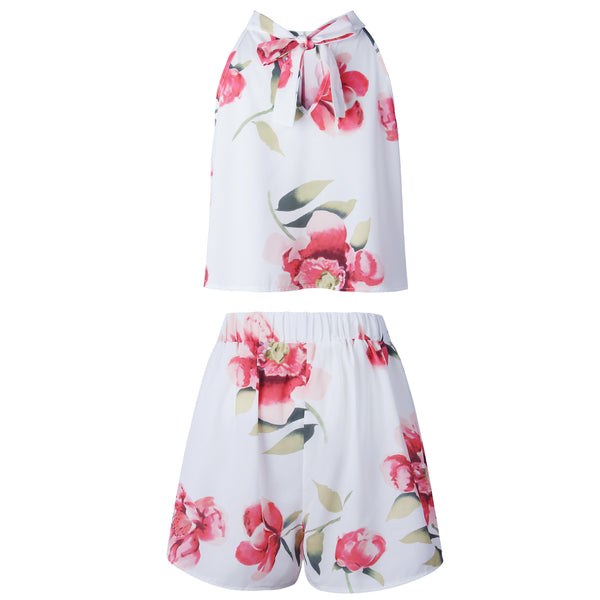 White Floral Crop Top and Shorts Matching Sets