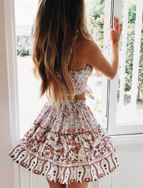 Pink Floral Crop Top and Skirt Matching Sets