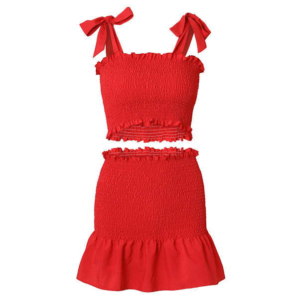 Red Shoulder-Ties Smocked Matching Sets