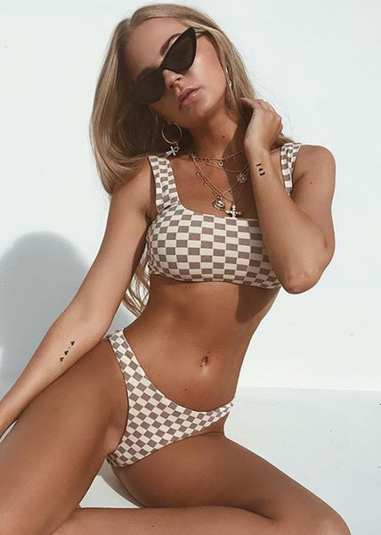 Khaki Plaid Tank Bikini Sets