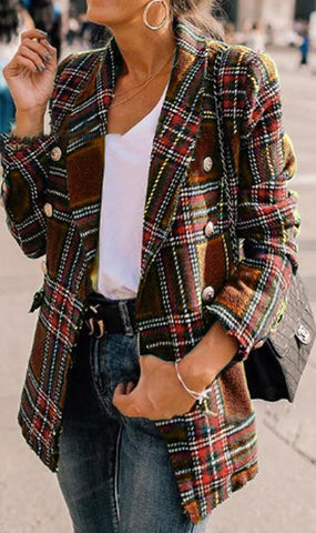 Coffee Tartan Plaid Wool Coat