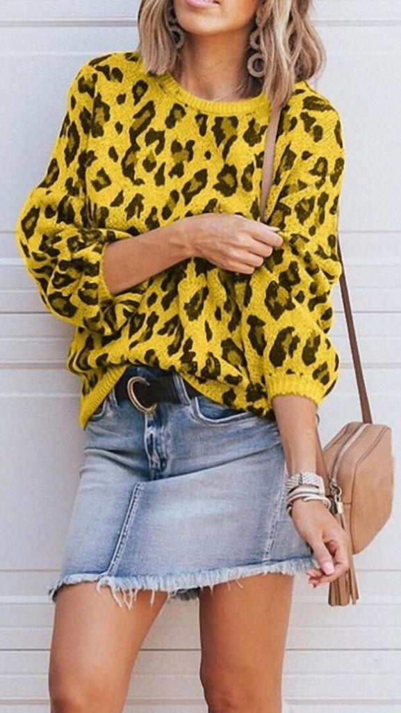 Yellow Leopard Print Loose Knit Sweater