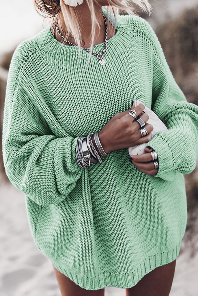 Mint Green Batwing Loose Fit Long Sweater