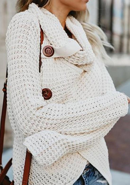 Beige Button Turtleneck Wrap Cardigan