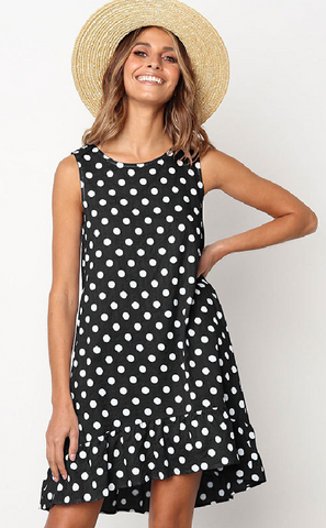 Black Polka Dot Sleeveless Midi Dress