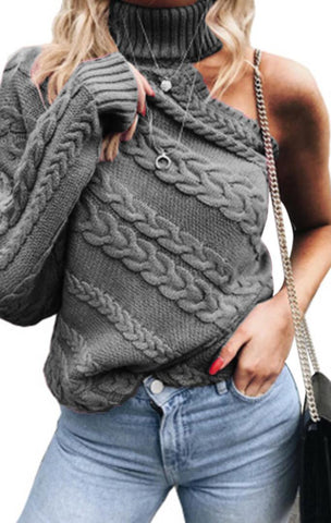 Gray One Sleeve Cable Knit Sweater