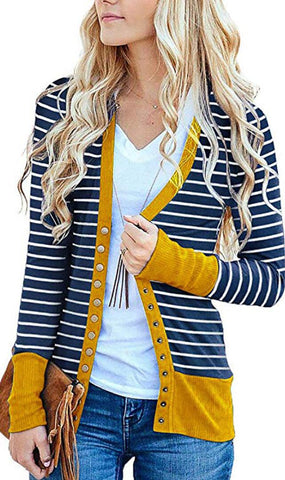 Yellow Basic Striped Button Down Cardigan