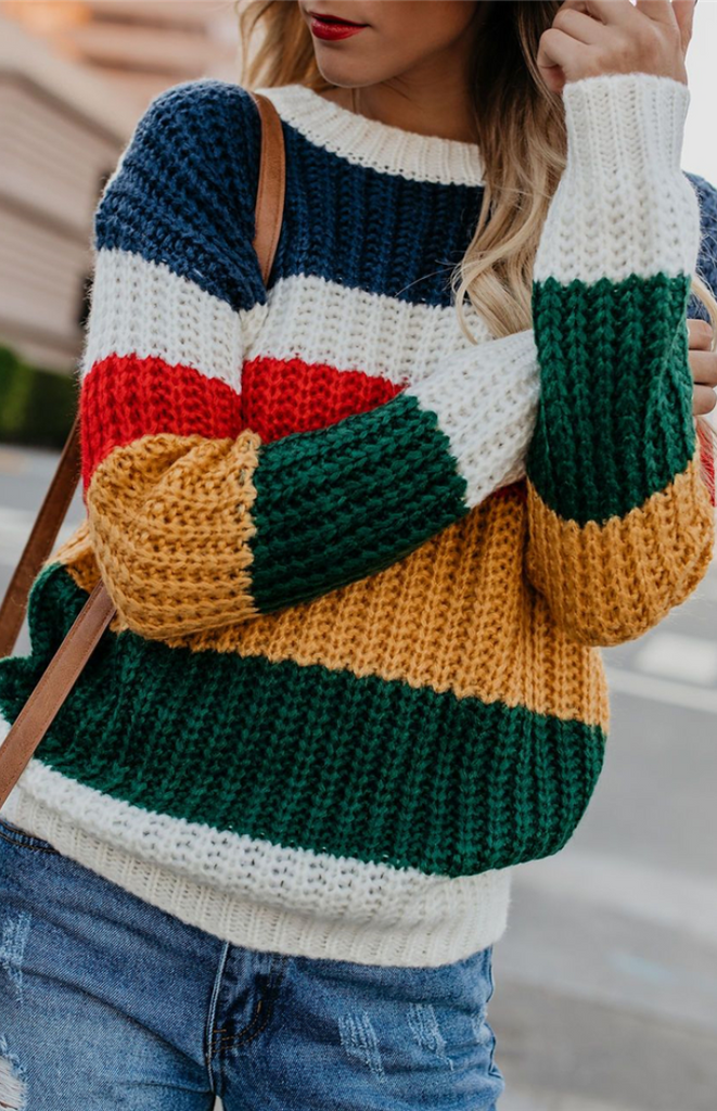 Colorful Striped Pullover Knit Sweater