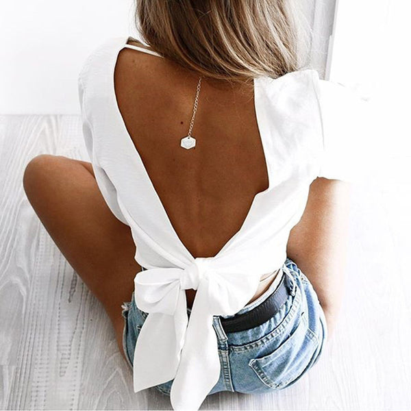 White Surplice Bow Tie Open Back Crop Top