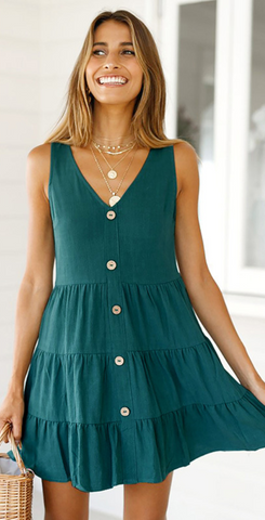 Turquoise Button Down Linen Dress