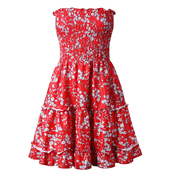 Red Daisy Floral Smocked Bandeau Mini Dress