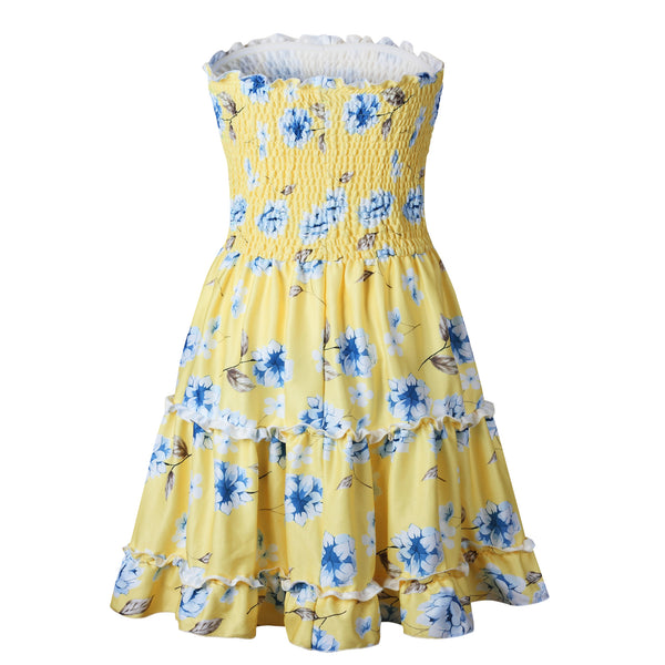 Yellow Floral Smocked Bandeau Mini Dress