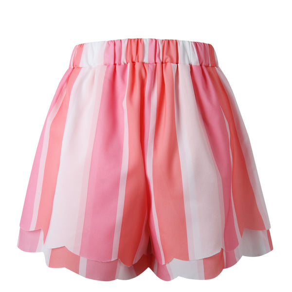 Hot Pink Stripe Layered Bowtie Shorts