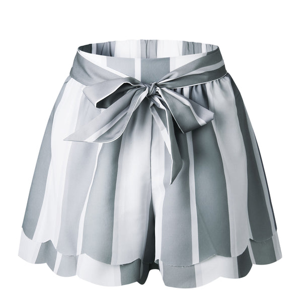 Gray Stripe Layered Bowtie Shorts