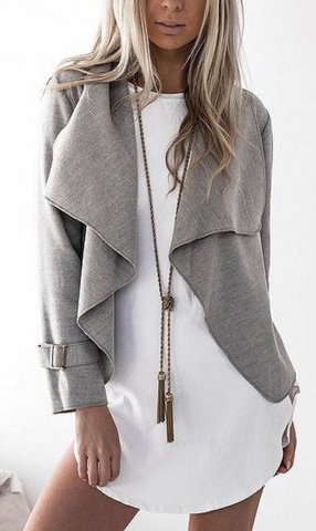 Lapel Long Sleeve Open Waterfall Front Coat