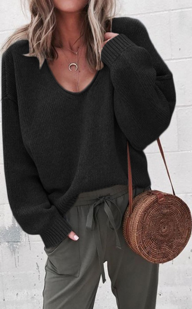 Black V-neck Drop Shoulder Pullover Sweater