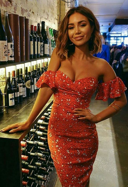 Red Floral Off the Shoulder Bodycon Dress