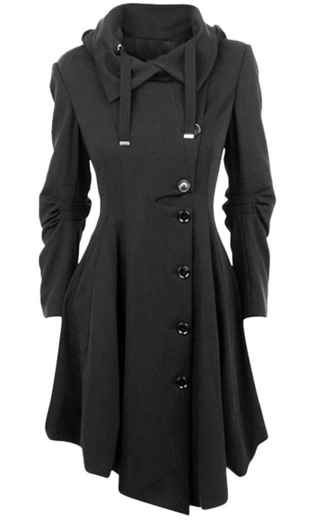 Black Button Down Drawstring Coat